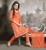 SALWAR KAMEEZ DESIGNS CUTE CREATION OF PAKISTANI FASHION DESIGNERS FOR LADIES CHANDERI FABRIC ORANGE KAMEEZ WITH MATCHING COTTON SALWAR AND NAZNEEN DUPATTA