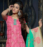 DAZZLING DUSTY PINK KURTI WITH GREEN SALWAR AND DUPATTA