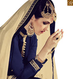 BROUGHT TO YOU BY STYLISH BAZAAR GLAMAROUS NAVY BLUE GEORGETTE DESINER KAMEEZ WITH CREAM EMBROIDERED DUPATTA RTFRS2009