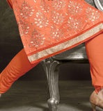 STYLISH LONG SLEEVE DESIGNER DRESS IN ORANGE AND SIVER EMBROIDEY BUTTA WORK SALWAR KAMEEZ DESIGNS CUTE CREATION OF PAKISTANI FASHION DESIGNERS FOR LADIES VDISH2009