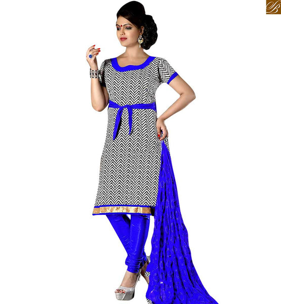 Pakistani shalwar kameez design of suit formal dress patterns black cotton printed shalwar kameez on lace border pata with border line and blue churidar bottom Image