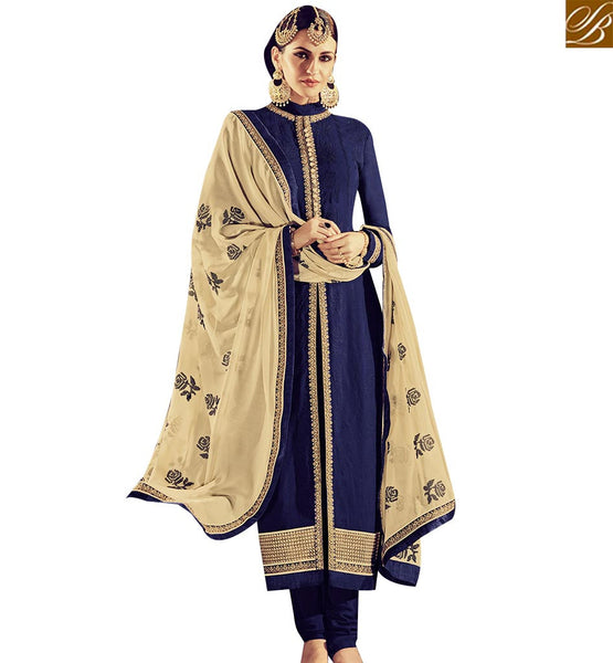 STYLISH BAZAAR GLAMAROUS NAVY BLUE GEORGETTE DESINER KAMEEZ WITH CREAM EMBROIDERED DUPATTA RTFRS2009