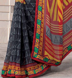 MAROON & YELLOW CASUAL WEAR SAREE RTKOR200