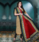 OFFICE WEAR SALWAR KAMEEZ ONLINE SHOPPING INDIA BEIGE BHAGALPURI TOP WITH BLACK COTTON BOTTOM AND MAROON PRINTED BHAGALPURI DUPATTA
