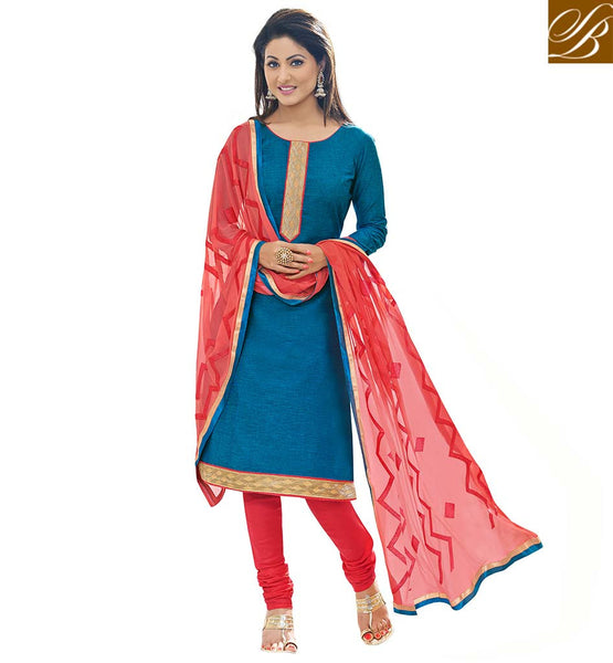TELEVISION CELEBRITY HINA KHAN COTTON SUIT WITH CHURIDAR SALWAR AND DUPATTA