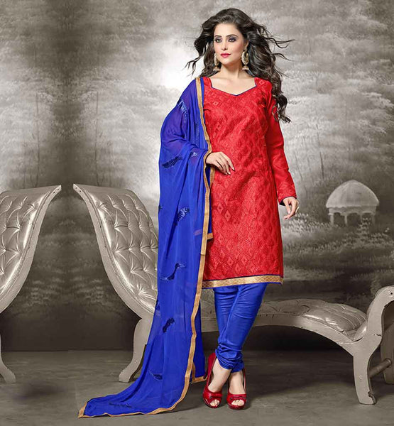 INDIAN DESIGNER WEAR LONG FULL LENGTH SALWAR KAMEEZ DESIGNS OF SUITS FOR WOMEN CHANDERI FABRIC RED KAMEEZ WITH BLUE COTTON SALWAR AND NAZNEEN DUPATTA