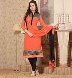 SMART ORANGE AND BLACK STRAIGHT CUT SALWAR SUIT WITH DUPATTA