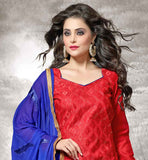 CHANDERI FABRIC RED KAMEEZ WITH BLUE COTTON SALWAR AND NAZNEEN DUPATTA V_NECK LONG SLEEVE STRAIGHT CUT SUIT WITH ZARI BORDER & STITCH EMBROIDERY