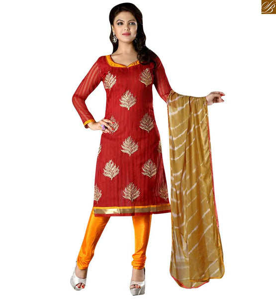 Punjabi dress simple salwar kameez indian suit design online maroon cotton floral zari embroidered salwar kameez with border pata work and orange churidar bottom Image
