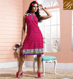 DESIGNER KURTI PATTERNS COLLECTION OF STYLISH CASUAL TOP BOLLYWOOD STYLE LOVELY PINK COTTON RAYON FABRIC KURTI