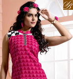 BOLLYWOOD STYLE LOVELY PINK COTTON RAYON FABRIC KURTI  TIP TOP DESIGNER KURTI WITH FANCY ZARI PATCH WORK AND PAISLEY PATTERN DIGITAL PRINTED KURTI