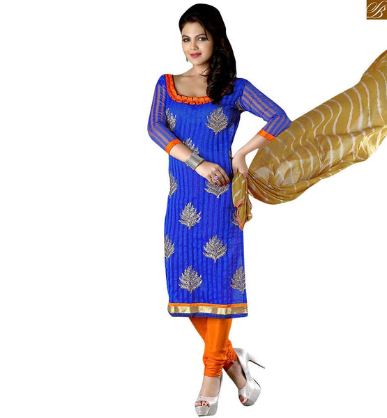 New look dresses latest designs of salwar kameez suit at low rate blue cotton different cut neck desiner salwar kameez with patch work and orange churidar bottom Image