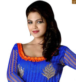 New look dresses latest designs with unique color combination. A very decent looking salwar kameez suit at low rate for office girl daily wear blue cotton different cut neck desiner salwar kameez with patch work and orange churidar bottom image