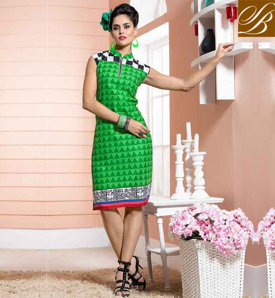 DESIGNER KURTIS COLLECTION OF EXCLUSIVELY PATTERNED BOAT NECK AWESOME GREEN COTTON RAYON FABRIC KURTI LOOK LIKE CAUSALWEAR