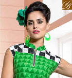 AWESOME GREEN COTTON RAYON FABRIC KURTI LOOK LIKE CAUSALWEAR NEW STYLE PRINTED KURTIS AND FEATURING DECORATIVE ABSTRACT PATTERN PRINT, FANCY ZARI WORK ON THE YOKE PART