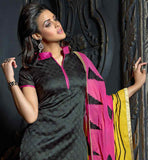 BLACK CHINESE COLLAR KURTI WITH SALWAR AND PRINTED DUAL COLOR DUPATTA