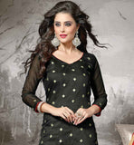 BLACK KAMEEZ WITH RED COTTON SALWAR AND DUPATTA BEST SUITS COLLECTION  FLORAL EMBROIDERED STRAIGHT SHAPE CUT OF DESIGNER DRESS