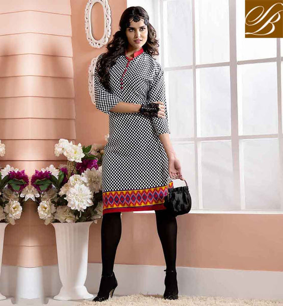 DESIGNER KURTIS ONLINE SHOPPING AT CHEAPEST RATES EYE CATCHING BLACK AND OFF WHITE COTTON RAYON FABRIC KURTI TOP