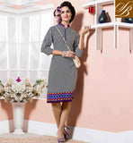STYLISH PAKISTANI KURTI PATTERNS OF DIGITAL PRINT STYLE NEW LOOK BLACK AND OFF WHITE COTTON RAYON FABRIC KURTI