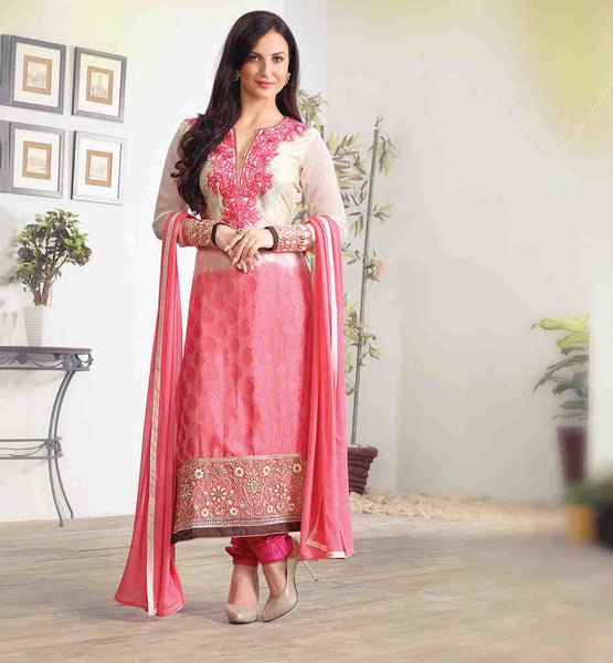 ELLI AVRAM SUPERB CREAM PEACH SHADED DESIGNER SALWAR KAMEEZ DUPATTA