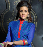 BLUE CHANDERI KURTI WITH CONTRAST SALWAR AND NET JACQUARD DUPATTA