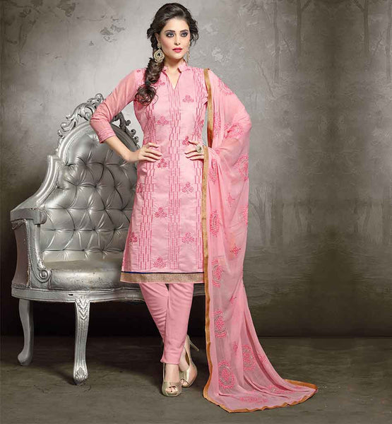 PAKISTANI FASHION DRESSES ONLINE BUY SHALWAR KAMEEZ DESIGNS  LATEST PUNJABI SUITS CHANDERI FABRIC DUSTY PINK KAMEEZ WITH COMPLEMENTING COTTON SALWAR AND NAZNEEN DUPATTA