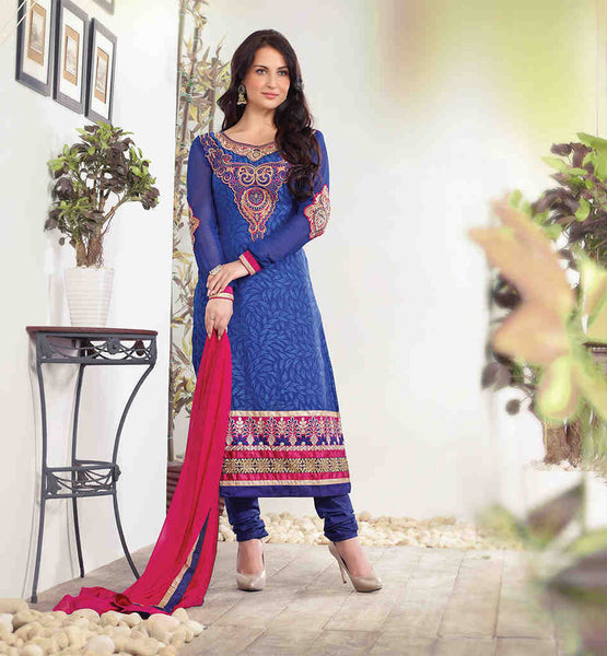 OUTSTANDING ELLI AVRAM BRASSO BLUE PARTY WEAR EMBROIDERED SALWAR SUIT