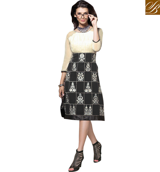 BROUGHT TO YOU BY STYLISH BAZAAR PLEASING BLACK AND WHITE DESIGNER KURTI VDSCH2013