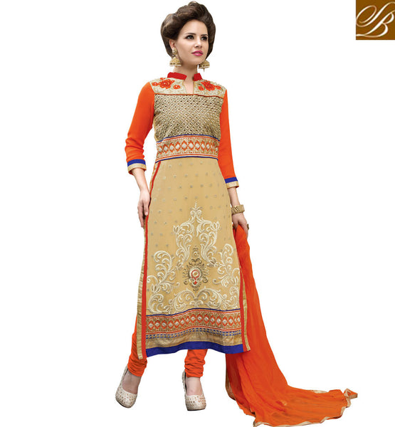 2015 FASHION INDIAN DRESSES ONLINE SHOPPING  DESIGNER CREAM ROYAL LOOK GEORGETTE SALWAR KAMEEZ WITH NAZNEEN DUPATTA