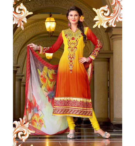 STRIKING YELLOW & ORANGE SHADED SALWAR SUIT RTRO2015 online salwar kameez party dresses india party wear dresses  Designer Georgette Salwar Kameez | Embroidered Salwar Suit | Stylishbazaar |
