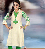 STYLISH KHADI COTTON KURTI WITH GREEN EMBROIDERY ON SLEEVE AND NECK