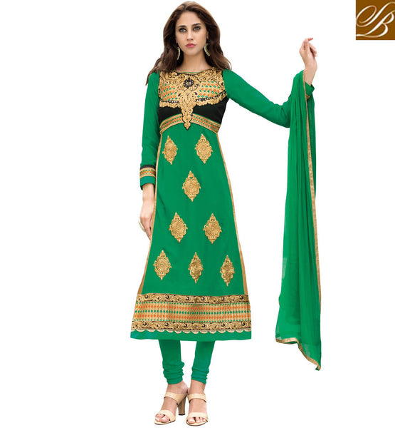 LATEST DESIGNER SALWAR KAMEEZ AT AFFORDABLE RATES  PARTY WEAR STRAIGHT CUT SALWAR KAMEEZ IN FLORAL EMBROIDERY