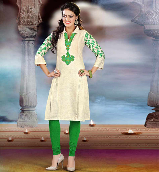 KHADI COTTON EMBROIDERED SLEEVE COLLAR NECK STYLISH OFFICE KURTI
