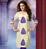 SUPERB KHADI KURTI WITH PLEATS AND EMBROIDERY DETAILING