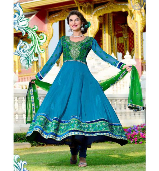 BEAUTIFUL BLUE GEORGETTE SALWAR SUIT RTRO2018 Churidar Suits churidar designs Indian Churidar Dresses  Designer Georgette Salwar Kameez | Embroidered Salwar Suit | Stylishbazaar |