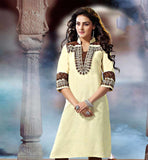 ROYAL LOOK KHADI KURTI WITH EMBROIDERY ON SLEEVE AND NECK