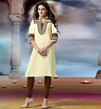 WOMEN TRADITIONAL KHADI OFFICE WEAR KURTI WITH EMBROIDERY WORK