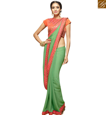STYLISH BAZAAR BEAUTIFUL GREEN JACQUARD DESIGNER SAREE KEEP PEACH SEQUENCE WORK BLOUSE SLHAW201