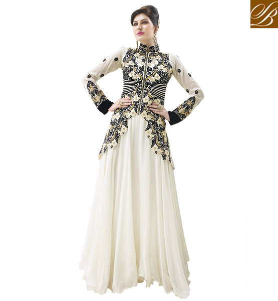 OUT-STANDING OFF WHITE WEDDING WEAR ANARKALI DRESS RTALK201
