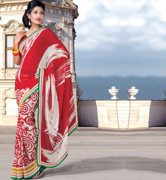 MAROON & OFF-WHITE CASUAL WEAR SAREE RTKOR201
