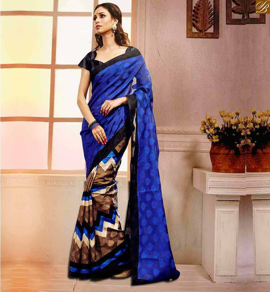 BLOUSE PATTERNS LATEST WITH DESIGNER HALF SAREE LATEST DESIGNS SIMPLE BLUE BHAGALPURI SILK CASUAL WEAR SAREE WITH BLACK BHAGALPURI SILK BLOUSE
