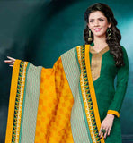 LOVELY STRAIGHT CUT GREEN BHAGALPURI DRESS WITH YELLOW COTTON SALWAR THIS DRESS HAS NICE