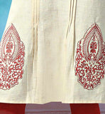 embroidery patch on kurti with pleats pattern