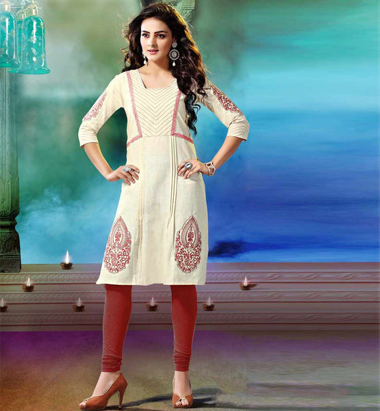 NEUTRAL COLOR KHADI KURTI ONLINE SHOPPING TO MATCH WITH ANY BOTTOM
