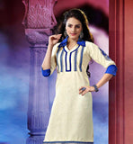 OFF WHITE KHADI KURTI WITH BLUE DETAILINGS TO WEAR WITH LEGGINGS