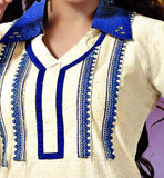 kurti with embroiderd neck and collar neck pattern