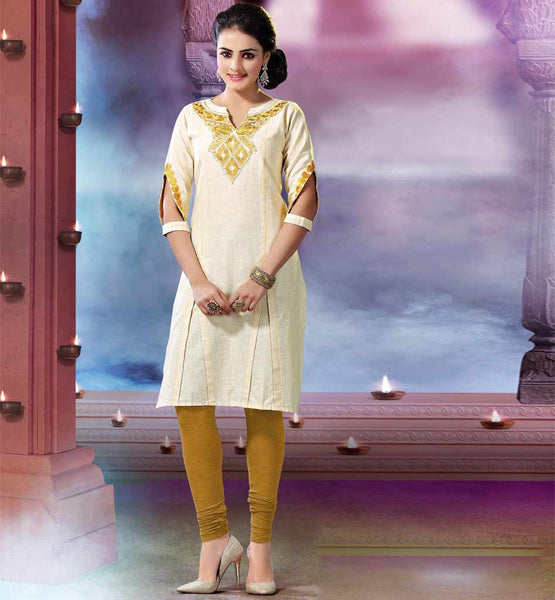 BUY ONLINE EVERSTYLISH DESIGNER KURTI WITH EMBROIDERY WORK ON NECK