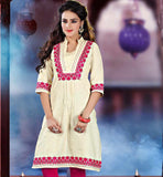 CREAM KHADI KURTI WITH PINK EMBROIDERY ON NECK & SLEEVES