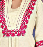 new 2015 pattern kurti with embroidery on neck and sleeves