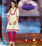 NEW PATTERN KHADI COTTON KURTI WITH EMBROIDERY WORK ON NECK & SLEEVE